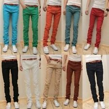 New Mens hip hop Slim Fit Pants Skinny Stretch Pencil Jeans Trousers Cool Casual