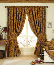 Tapestry Chenille PAOLETTI CURTAINS, Deep Red & Gold, Woven Period Floral, Thick