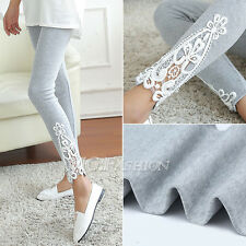 NEW Fashion Women's Sexy Lace Stretchy Skinny Cotton High Waist Leggings Pants
