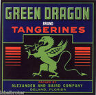FLORIDA ORANGE CRATE LABEL GREEN DRAGON VINTAGE DELAND TANGERINES 1930S FANTASY