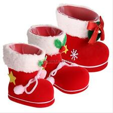 Christmas Tree Decor Santa Claus Fairy Red Flocking Christmas Boots Candy Bag #W