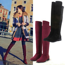 Flat Heel Over the Knee Thigh High Fake Suede Leather Slim Boots Size US 7 - 10