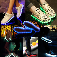 Unisex LED Light Luminous Shoes USB Charger Lace Up Sportswear Casual Sneaker UK
