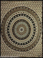 Indian Circle Tapestry Beach Sheet 85X100 Dorm Wall Hanging w Tie Down Loops