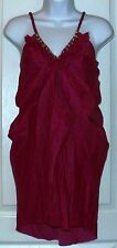 Steve Madden Silk Cotton Blend Dress gold accent purple or red size S or M (C3)