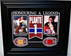 JACQUES PLANTE GAME USED STICK & FORUM RED SEAT FRAMED 8x10