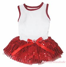 Valentine Xmas White Top Red Bling Sequins Gauze Skirt Pet Dog Puppy Cat Dress