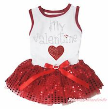 My Valentine Heart White Top Red Bling Sequins Bow Skirt Pet Dog Puppy Cat Dress