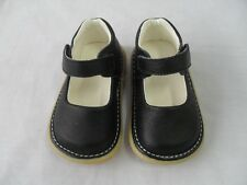 New Baby Girls Black Leather Dress Squeaky Shoes Toddler Size 4 + Xtra Squeakers