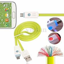 1M LED Micro USB Dato Sync Cargador Tallarines Plano Carga Cable Lead PR Android