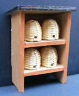 1:12th Scale - 4 Wicker Bee Hive + Wooden Stand Dolls House Miniature Accessory