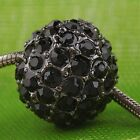 10pc Black Crystal Round Spacer Bead Charm BD316-2