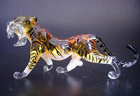 Glass TIGER, Orange, Stripy Wild Cat, Painted, Coloured Glass Ornament, Gift