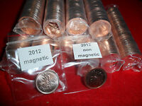 Rare 2012 Canadian  Magnetic & non magnetic penny rolls  from RCM (01)(LAST YEAR