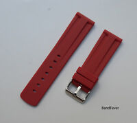 NEW 22mm RED Quality RUBBER Two piecs WATCH BAND,STRAP With solid buckle Men