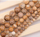 """Natural Round Picture Stone loose gemstone beads strand 15"""" 6/8/10/12/14mm DIY"""