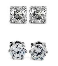 1 PAIR CZ CLEAR SQUARE/ROUND MAGNETIC EARRINGS STUDS