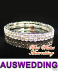 "2 Row Silver Plate/Tone Wedding Bridal 4mm Clear Crystal Bracelet 6""-8"""