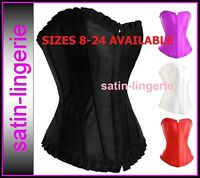 HALLOWEEN COSTUME / PARTY ELEGANT BURLESQUE BASQUE SATIN CORSET SEXY LINGERIE