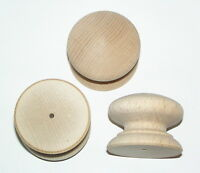 Pack of 10 Large Drilled Wood Beech Knobs Handles 46mm