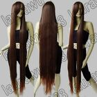 "60"" Long 150cm Heat Resistant Cinnamon Brown Straight Cosplay Wig Free shipping"