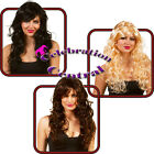 EXTRA LONG CURLY WAVY WIG WITH SWEPT FRINGE BROWN BLACK BLONDE FANCY DRESS