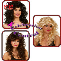 LONG CURLY WIG WITH FRINGE BROWN BLACK BLONDE FANCY DRESS