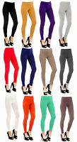 Womens Plain Fitted Full Length Stretch Leggings in Black Grey Navy Ladies New