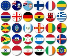 "WORLD FLAGS Various 25mm, 1"" Button Badge, E to I"