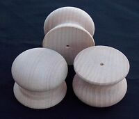 Pack of 10 Large Drilled Wood Beech Knobs Handles 46mm TS