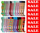 THIGH HIGH LONG OVER THE KNEE SOCKS COTTON RICH 24 FASHION STRIPE COLOURS UK 4-8