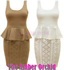 NEW LADIES PEPLUM BODYCON FRILL STUDDED SKIRT SMART TAILORED SHIFT DRESS 8-14