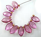 10 FABULOUS FUCHSIA PINK QUARTZ FACETED MARQUISE BRIOLETTE BEADS 9-10 mm V19