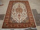 IVORY MEDALLION FLOWRAL HAND KNOTTED RUG WOOL SILK CARPET 6x4 RARE