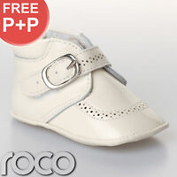 Baby Boys Cream Leather Buckle Christening Wedding Formal Pageboy Shoes inf 0-4