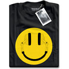 Headphone Acid House Smiley from DJ Cans Mens Black Music Clubbing Funky T-Shirt