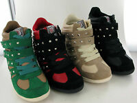 WOMEN/LADIES VELCRO & LACE UP STRAP ANKLE HIGH SNEAKERS WEDGE TRAINER/BOOTS