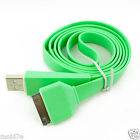 Green Flat USB Data Sync Charge Cable Apple iPod 3G 3GS iPhone 4 4S