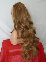 Half Wig Fall Clip In Hair Piece Curly Long 3/4 wig fall Brown highlight X21