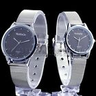 Black Dial Mens Womens Couple Lover's Stainless Steel Quartz Wrist Watch Watches