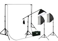 2700 Watt 3 Softbox Photo Video Hair Boom Light Kit 10x20 White muslin Backdrop