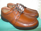 CLARKS MENS BROWN LEATHER CASUAL LACE UP SHOES EXTRA WIDE 'H' FIT LINE PATH CC
