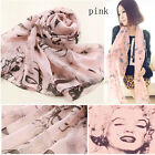 Chic Lip Pretty Marilyn Monroe Head Print  Chiffon Scarf Shawl Wraps Shades Gift