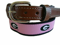 University of Georgia Bulldogs Leather Canvas Embroidered Ribbon Belt   PINK
