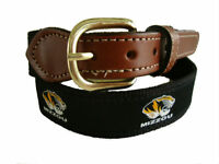 MIZZOU University of Missouri Mens Leather Canvas Embroidered Belt select size