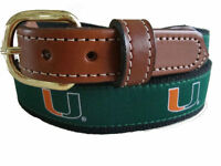 University of Miami Hurricanes UM Mens Leather Canvas Embroidered Belt pick size