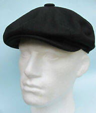Flat Cap Black Wool 8 Panel News Boy Baker Boy Gatsby