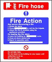 Fire Action (5) 200x150mm sticker rigid warning safety sign decal
