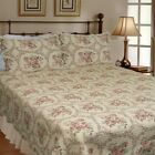 Reminiscent Mood Red 100% Cotton King-size Quilt Set, Bedspread, Coverlet