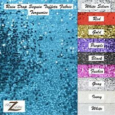 "RAIN DROP SEQUIN TAFFETA FABRIC 55""/60"" WIDTH SOLD BY THE YARD SHINY DRESS GOWN"